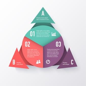Modello di un grafico a torta con frecce triangolari. concetto di affari