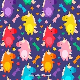 Modello di unicorno colorato disegnato a mano