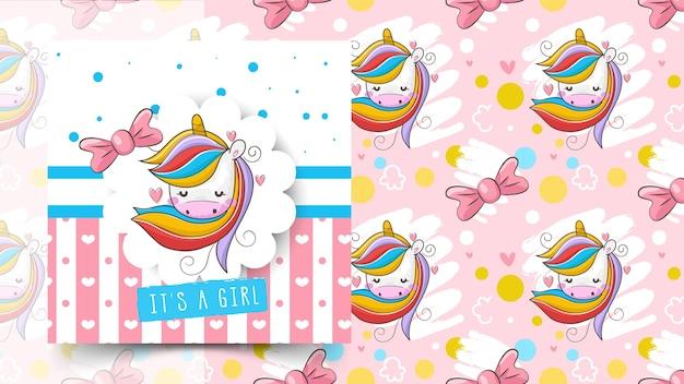 Modello di unicorno per baby shower
