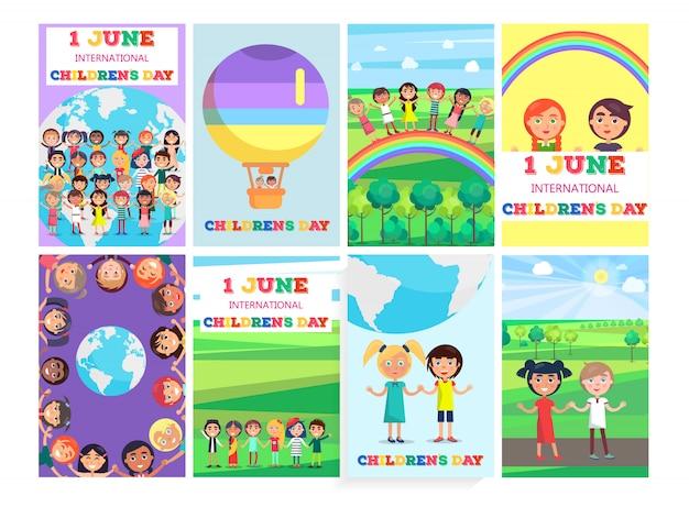 Modello di vacanza 1 giugno con la collezione di poster colorati. bandiera di vettore di biglietti di auguri per la giornata internazionale dei bambini