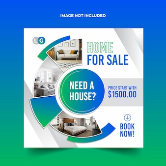 Modello di vendita casa banner social media