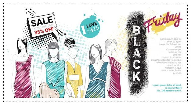 Modello di vendita del black friday con modelli di moda disegnati a mano