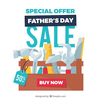 Modello di vendita del giorno del padre con toolbox