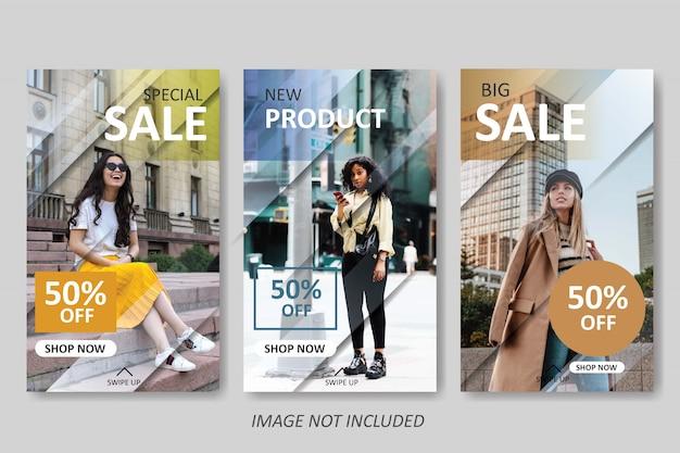 Modello di vendita di moda moderna per la storia di instagram