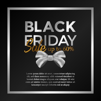 Modello di venerdì nero con regalo nastro
