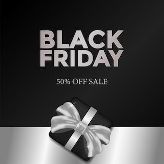 Modello di venerdì nero con scatola regalo