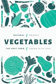 Modello di verdure disegnate a mano divertente.