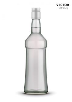 Modello di vetro di bottiglia della vodka isolato