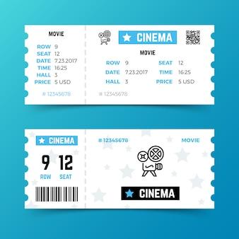 Modello di vettore biglietto d'ingresso al cinema in stile moderno e minimalista