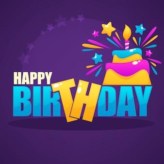 Modello di vettore del biglietto d'auguri lucido e lucentezza con l'immagine della torta e della candela di compleanno