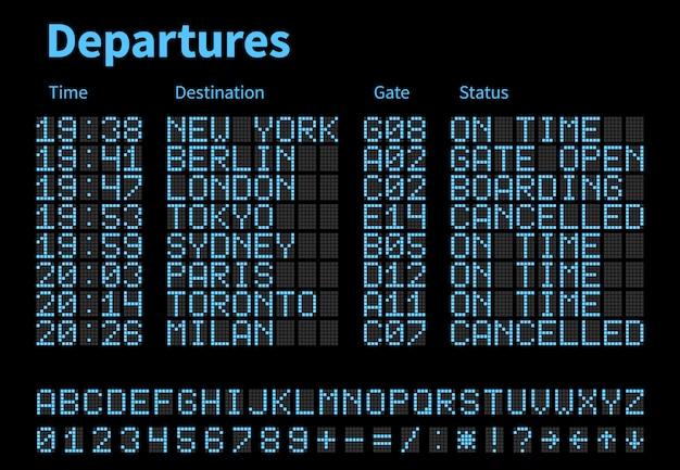 Modello di vettore del bordo digitale dell'aeroporto di arrivi e delle partenze. quadro di controllo aereo con lettere e numeri a led