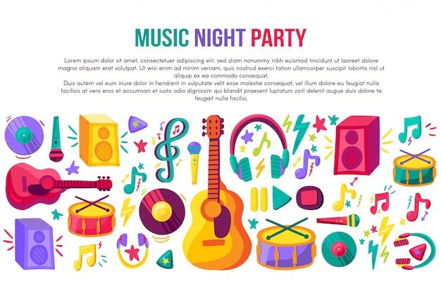 Modello di vettore del manifesto dell'invito del partito di notte di musica