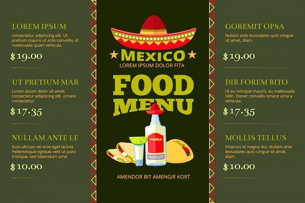 Modello di vettore del menu del ristorante dell'alimento di cucina messicana