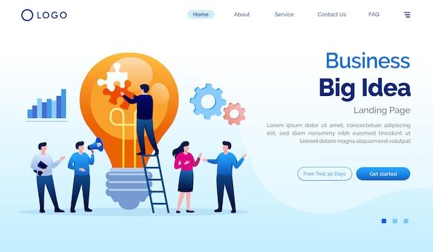 Modello di vettore dell'illustrazione del sito web della pagina di atterraggio di grande idea di affari