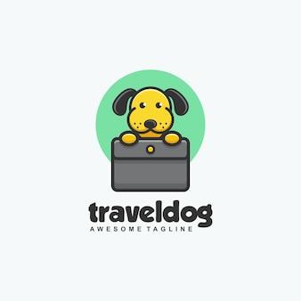 Modello di vettore dell'illustrazione di concetto del cane di viaggio