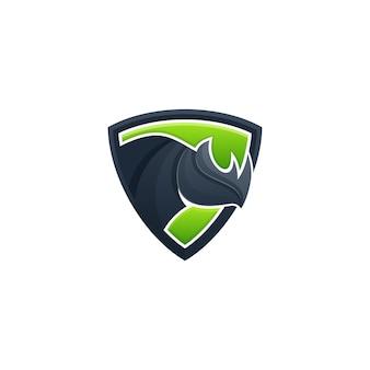 Modello di vettore dell'illustrazione di concetto di scudo di rhino