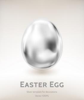Modello di vettore dell'uovo di pasqua d'argento dalla maglia gradiente