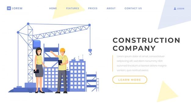 Modello di vettore della pagina di destinazione della società di costruzioni