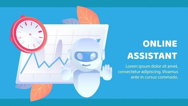 Modello di vettore di banner piatto di assistenza online