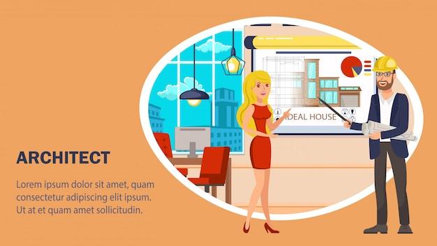Modello di vettore di banner sito web architetto.