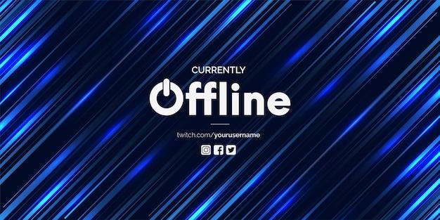 Modello di vettore di banner twitch moderno attualmente offline