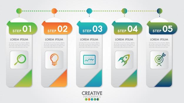 Modello di vettore di design moderno di infografica per percentuale di affari con 5 passaggi o opzioni