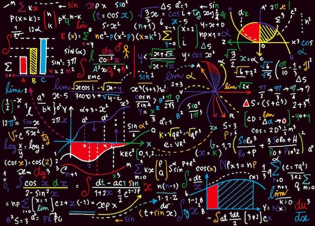 Modello di vettore di educazione matematica con formule scritte a mano