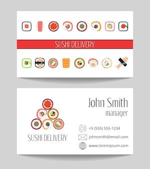 Modello di vettore di entrambi i lati biglietto da visita consegna sushi