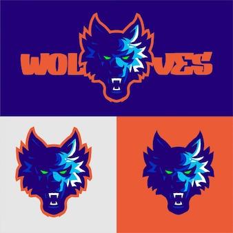Modello di vettore di gioco di logo della mascotte dei lupi blu-chiaro