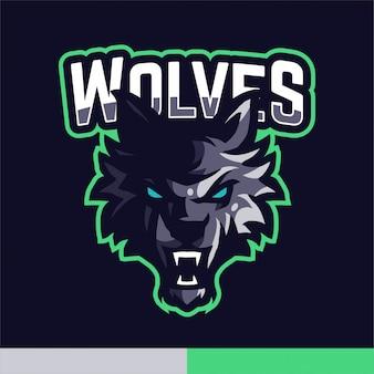 Modello di vettore di gioco di logo della mascotte dei lupi
