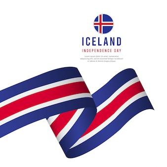 Modello di vettore di giorno di indipendenza dell'islanda.