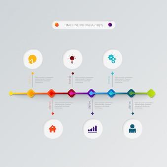 Modello di vettore di infographics di cronologia.