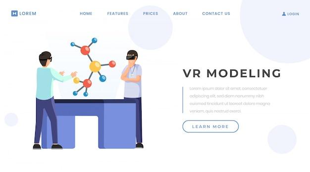 Modello di vettore di landing page di modellazione vr