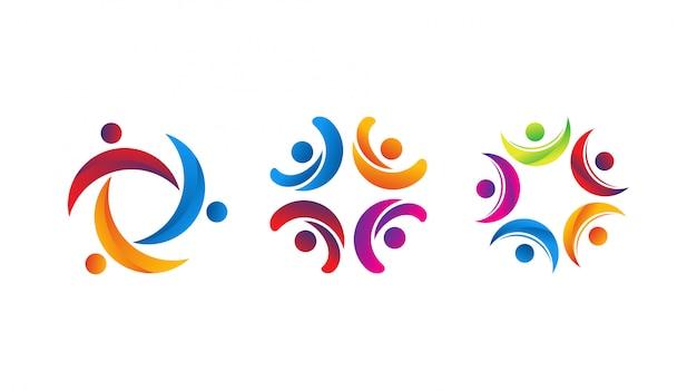 Modello di vettore di logo di cura umana di unità