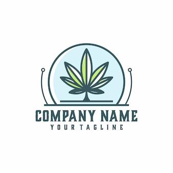 Modello di vettore di logo di tecnologia di marijuana