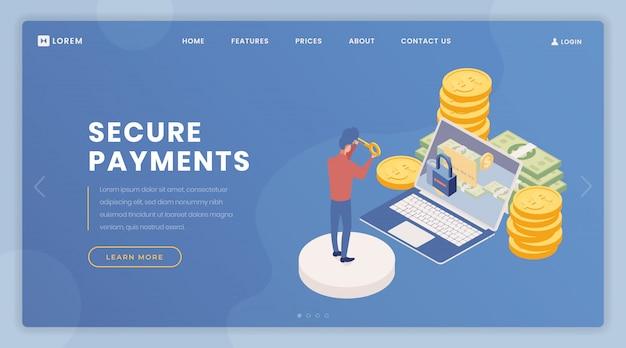 Modello di vettore di pagina di destinazione di sicurezza pagamenti