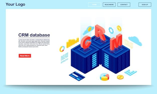 Modello di vettore di pagina di destinazione isometrica database e server crm