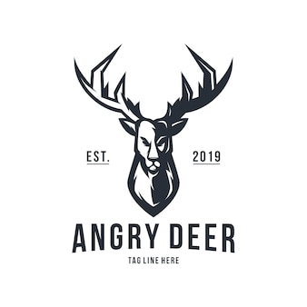 Modello di vettore di progettazione di logo vintage cervi arrabbiati