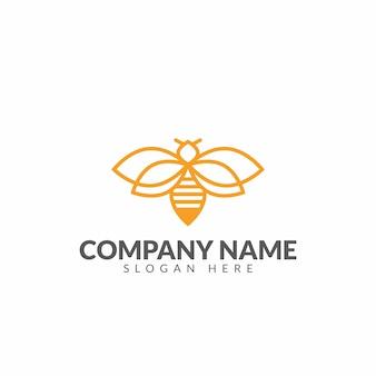 Modello di vettore di progettazione logo honeybee