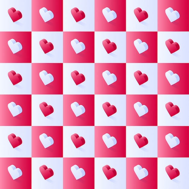 Modello di vettore di riserva isometrica senza soluzione di continuità, cuori rosa piatti geometrici in blocchi quadrati sfalsati