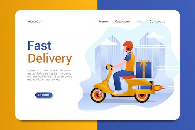 Modello di vettore di sfondo pagina di destinazione consegna veloce