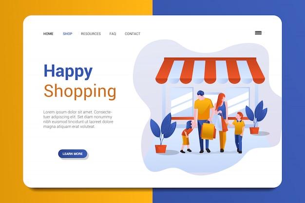 Modello di vettore di sfondo pagina di destinazione dello shopping felice