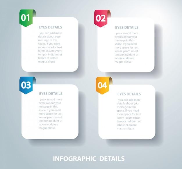 Modello di vettore grafico di informazioni quadrate con 4 opzioni