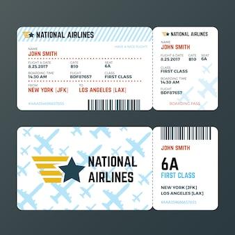 Modello di vettore isolato biglietto di passaggio di imbarco di volo dell'aeroplano