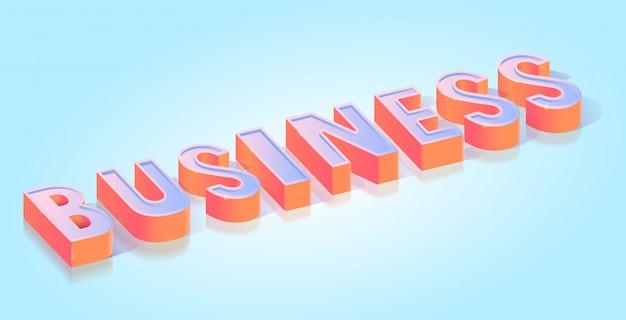 Modello di vettore isometrico di titolo del testo di affari