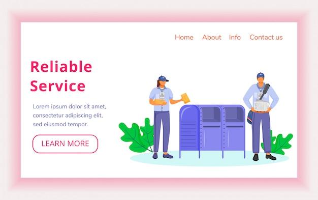 Modello di vettore pagina di destinazione servizio affidabile. sito web degli operai americani di consegna postale con illustrazioni piatte. progettazione del sito web
