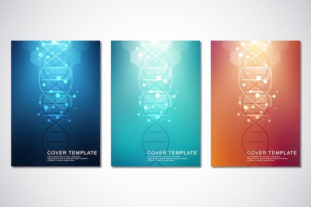 Modello di vettore per copertina o brochure, con sfondo di molecole e filamento di dna. medico o scientifico e tecnologico.