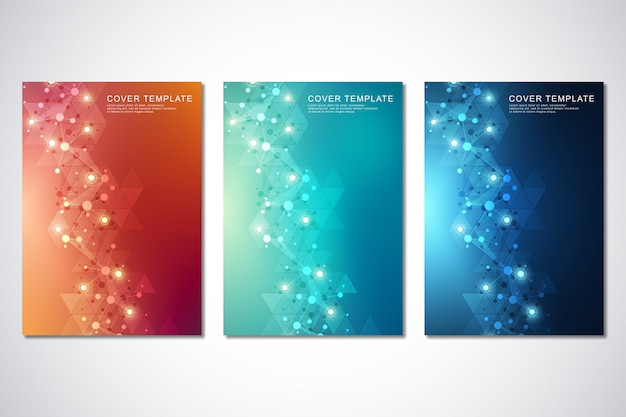 Modello di vettore per copertina o brochure, con sfondo di molecole e rete neurale