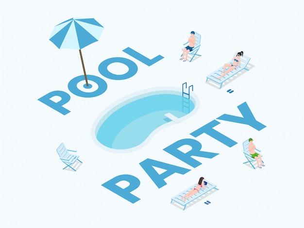 Modello di vettore piatto banner festa estiva. evento estivo, tempo libero tropicale all'aria aperta