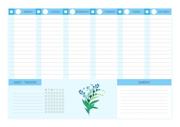 Modello di vettore piatto blu fiori selvatici tracker calendario e abitudine. progettazione del calendario con fioriture floreali e petali su sfondo bianco. pagina vuota dell'organizzatore di attività personali per planner